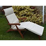 UK-Gardens Cream Beige Garden Furniture Steamer Chair Cushion - Removable cover - Double Piped - Indoor or Outdoor Use