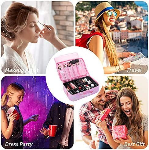 Travel Makeup Case, Cosmetic Bag Makeup Train Bags with Mirror , Large Professional Portable Cosmetic Cases for Accessories Black Pink Blue Grey, Brush Holder Storage Bag with Adjustable Dividers Waterproof