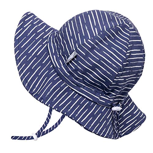 JAN & JUL Baby Boy Cotton Sun Hat 50 UPF, Adjustable Good Fit, Stay-on Tie (S: 0-6m, Navy Waves) -