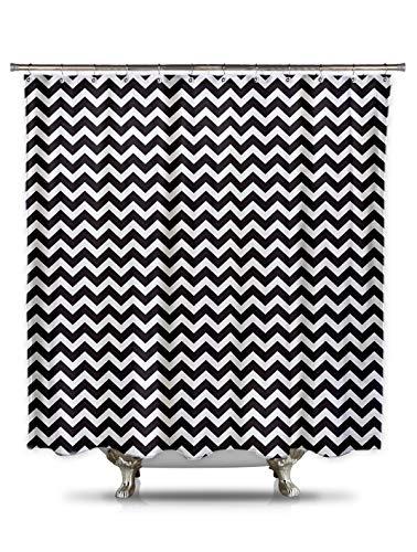 Black and White Chevron Shower Curtain by Shower Curtain HQ, 100% Polyester (Black And White Chevron Shower Curtain Cheap)