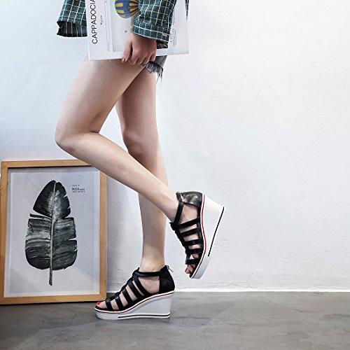 2 Donna A Collo Bianco Alto 35 Black Kivors wgaq1Yx