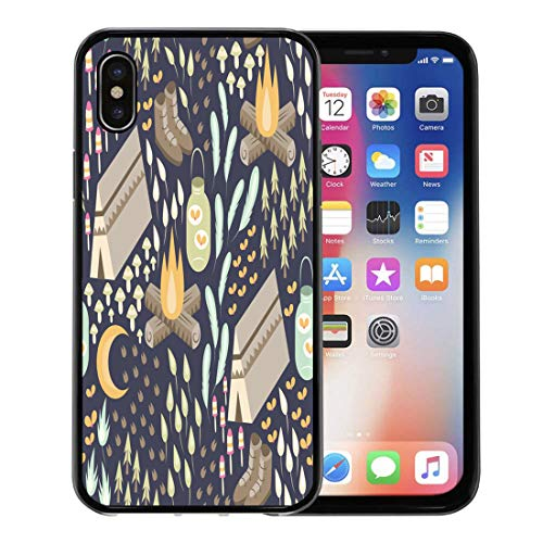 Semtomn Phone Case for Apple iPhone Xs case,Fun Camping Various and Outdoors Including Campfire Tent Hiking Boots Fireflies in Jar Moon Mushrooms for iPhone X Case,Rubber Border Protective Case,Black