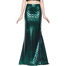 Jescakoo Ladies Sexy Maxi Long Shiny Mermaid Skirts Green and Blue S-XXL