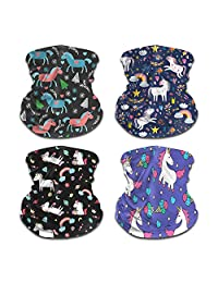 ATIMIGO 4 Pack Kids Face Mask Mouth Cover Bandanas Multifunctional Neck Gaiter Sun Mask Headband Dust Block Balaclavas
