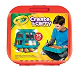 Crayola Create n Carry 75 Piece Art Kit Art Gift for Kids 5 & Up, 2-in-1 Portable Lap Desk & Carry-Case For Child Artists On-the-Go, Includes Markers, Crayons, Colored Pencils & Paper