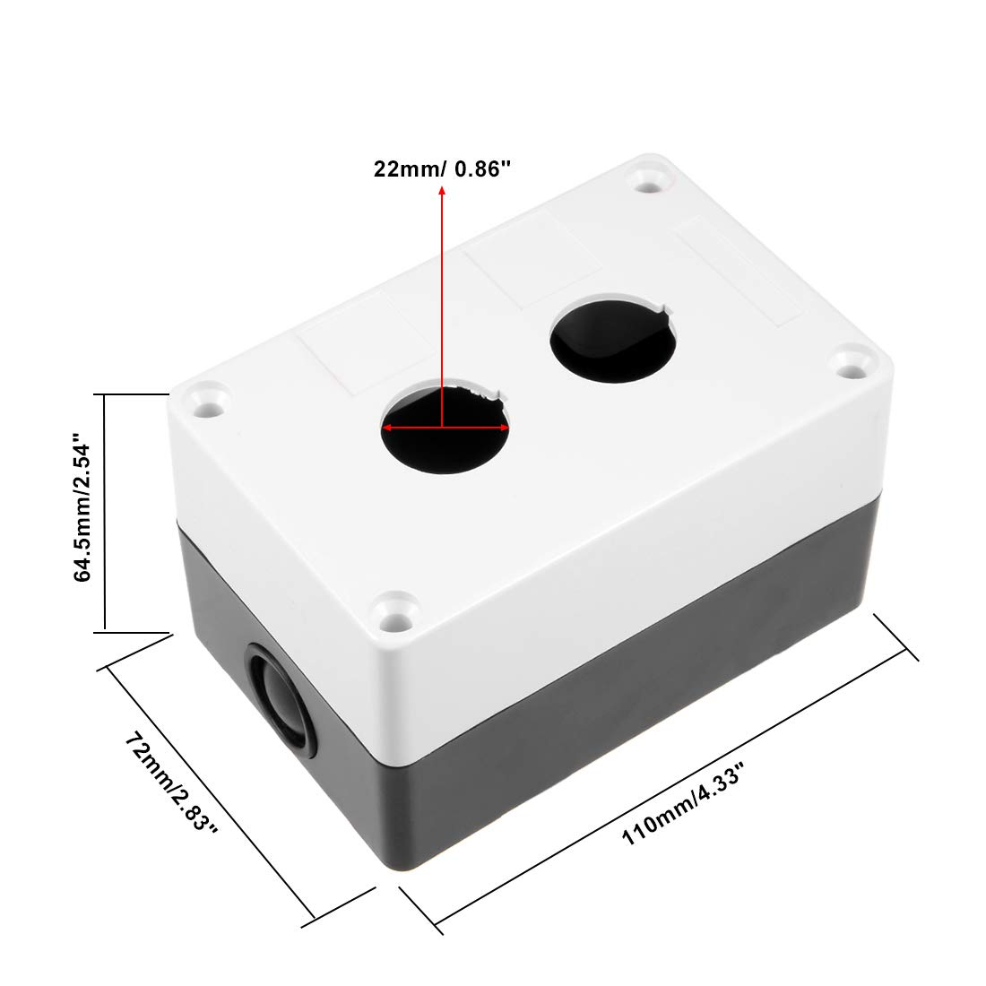 uxcell/® Push Button Switch Control Station Box 22mm 2 Button Hole Waterproof White and Black