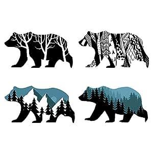 Amazon Com Mlm Snow Mountain Forest Silhouette Polar Bear Wall Sticker Animal Wall