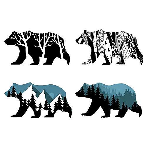 (MLM Snow Mountain Forest Silhouette Polar Bear Wall Sticker Animal Wall Decal for Living Room Porch Children Bedroom Study Classroom Nursery Kids Room Décor (Bear))