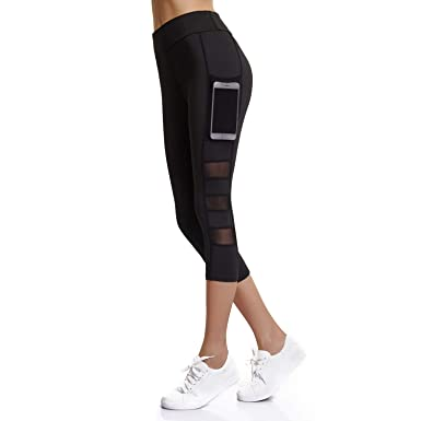 d78fc46a260be Joyshaper Capri Workout Leggings Women Pockets Cropped High Waisted Pants  Running Gym Tights (Black,