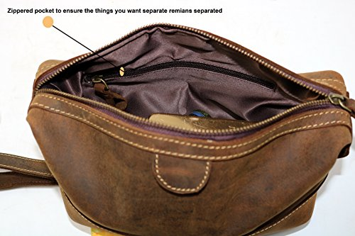 Men s Buffalo Genuine Leather Toiletry Bag waterproof Dopp Kit ... 40a640f8d6df7