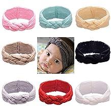 ZHW Baby Girls Lace Cotton Turban Headbands 8 Pack