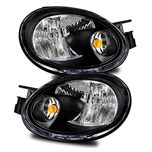 SPPC Crystal Headlights Black Assembly Set For Dodge Neon - (Pair) Drive Left and Passenger Right Side Replacement Headlamp Dodge Neon Crystal Headlights