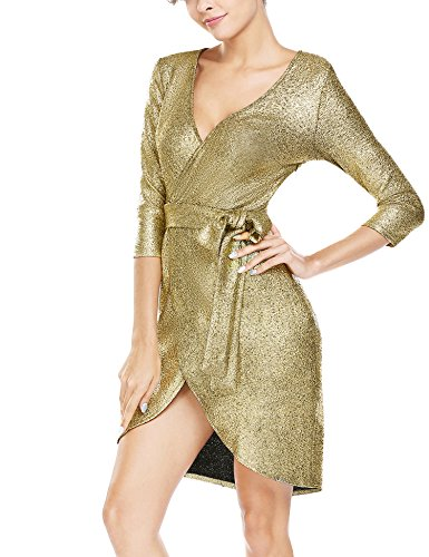 Sequined Dress - ANGVNS Women V Neck Half Sleev High Waist Asymmetrical Hem Homecoming Dress Gold M