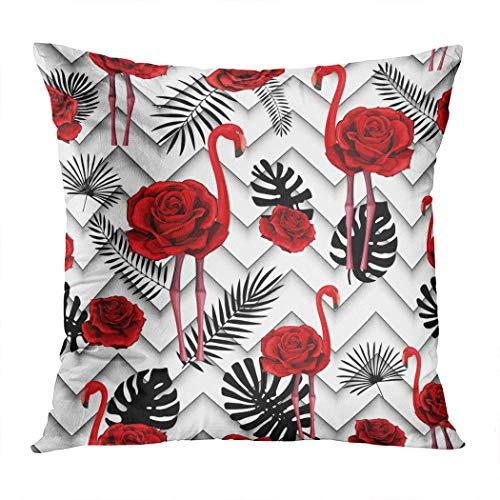 Suike Throw Pillow Cover Trendy Zigzag Lines Embroidered Red Hidden Zipper Home Sofa Decorative Cushion Case 20x20 Inch Square Printed Pillowcase]()