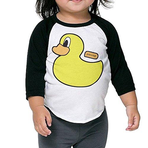 Hanxiaoxiao Girls Cute Duck Humor Outdoor Black Cute T Shirt 5-6 Toddler Crew Neck 1/2 Sleeve Raglan (Anaheim Mighty Ducks Rock)