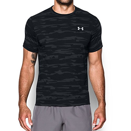 Under Armour Men's Threadborne Run Mesh Shorts Sleeve,Black /Reflective, Small by Under Armour (Image #1)