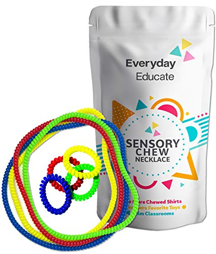 Chewable Jewelry Necklace Bracelet Big Coil Combo - Fun Sensory Motor Aid - Speech and Communication Aid - Great for Autism and Sensory-Focused Kids - 8 Units 4 Color -