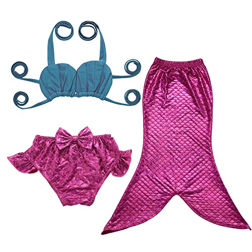 JFEELE Kids Toddler Baby Girls 2 Piece Swimsuit with Mermaid Tail Swimwear Bikini Set - 2-3T,Rose with Blue - 2 Piece Swimming Costumes
