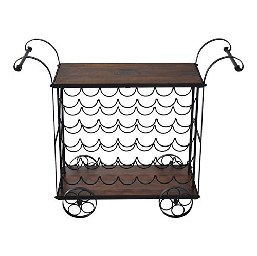 Honey Pot Costume Ideas (Wood And Metal Serving Cart With Wheels 35 Bottles Antique Wine Rack Bar Stand Portable Drink Liquor Storage Shelf Holder Kitchen Island Utility Dining Multipurpose Storing And Serving Designed)