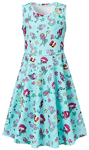 Big Girls Dresses Green Mermaid 8-9 Years Old Kawaii Animal Zoo Floral Print Nice Ruffle Twirling Overalls Dress Belle Princess Formal Maxi Midi Tshirt Skirt Daily Home Shcool Beach Casual ()