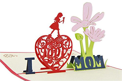 IShareCards® Handmade 3D Pop Up Greeting Cards,Thank You Cards for Mom - I LOVE MOM