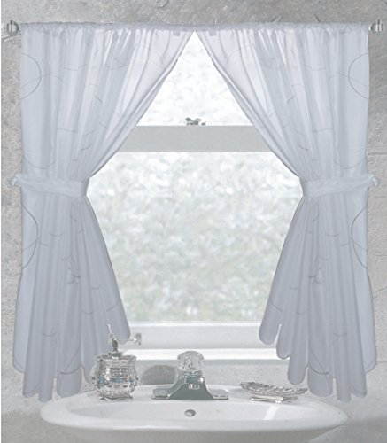 Carnation Home Fashions Ava Fabric Window Curtain (White Bathroom Window Curtains compare prices)