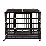 Walcut Bronze Heavy Duty 42' Rolling Double Door Strong Metal Pet Dog Cage Crate Cannel Playpen w/Wheels-Packed With Walcut Brand Box