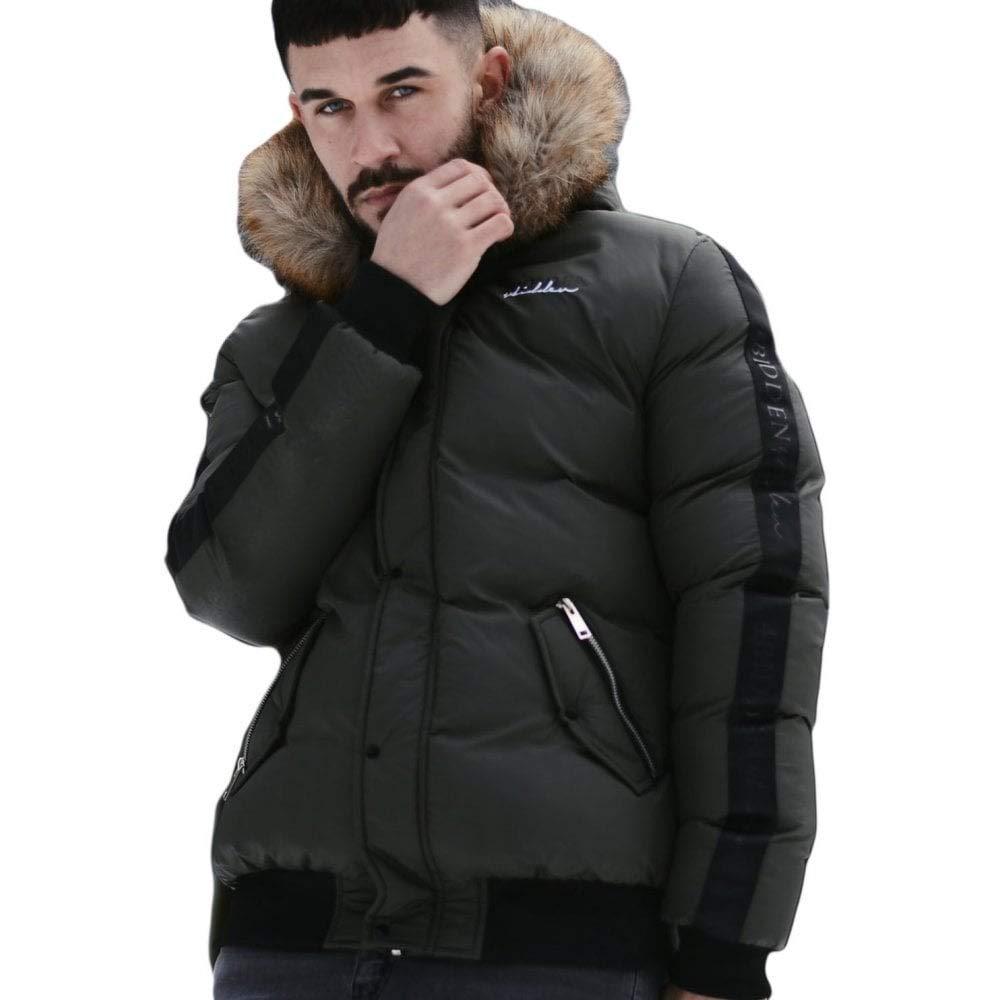 4BIDEN Alder Khaki Fur Hooded Bomber Jacket XL Khaki