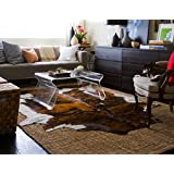 Brindle White Belly Cowhide rug on SALE Cow Hide Skin Leather Area Rug: XL