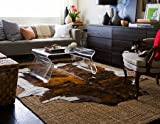 Leather Rugs Brindle White Belly Cowhide rug on SALE Cow Hide Skin Leather Area Rug: XL