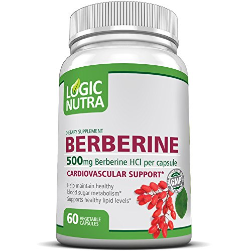 Berberine by Logic Nutra 500MG Best Selling Cardiovascular Support, Helps Maintain Healthy Blood Sugar Levels. 60 Veggie Caps