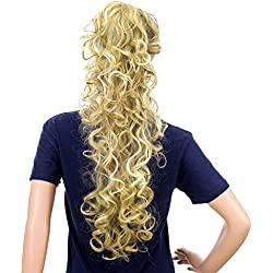 SWACC 24-Inch Long Messy Curls Claw Clip Ponytail Extensions Synthetic Clip in Drawstring Curly Ponytail Hairpiece Jaw Clip Hair Extensions (Beige/Blonde Mixed-24H613#)