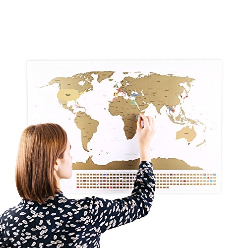 Scratchable World Map with Flags XXL + BONUS A4 Size Map of the UK! - Personalised Travel Tracker Poster - Remember and Share Your Adventures | Unique Design by ENNO VATTI (White | 84 x 58 cm)