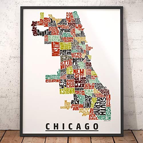 Chicago Neighborhood Map Print, signed print of my original hand drawn Chicago typography map art