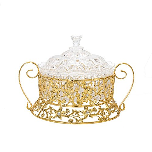 SAM'S HOME Gold Centerpiece Decorative Bowl Dish with Lid, Round Serving Bowl Metal Accents Ornate Vanity Vintage for Wedding Coffee Dining Tables Decoration.