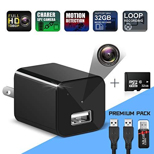 Hidden Camera Charger-Spy Camera Wireless Hidden-USB Charger Camera 1080P Full HD-Mini Spy Camera-Nanny Cameras and Hidden Cameras for Home-Motion Detection Hidden Cam-Surveillance Camera-Premium Pack