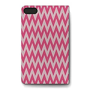 Leather Folio Phone Case For Apple iPhone 6 Leather Folio - Neon Pink Chevron Flip Cover