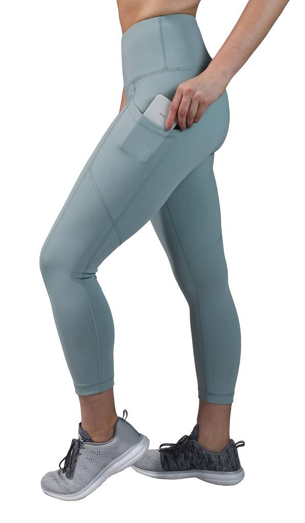 90 Degree By Reflex High Waist Squat Proof Yoga Capri Leggings with Side Phone Pockets - Slate - XL by 90 Degree By Reflex