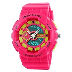 Jewtme fashion sports colorful young boys girls watches - pink