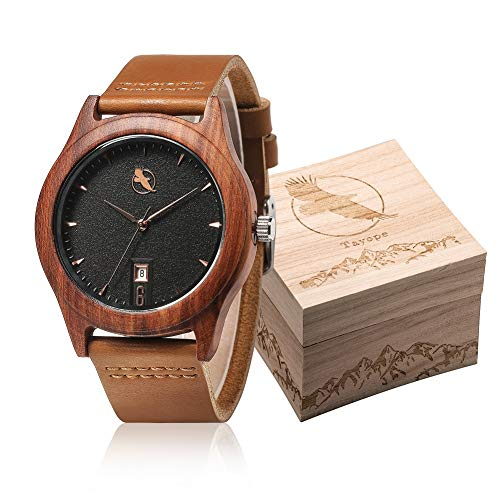 Tayope Mens Wooden Watch, Bamboo Wood Wristwatches for Women, Leather Strap Quartz in Engraved Box