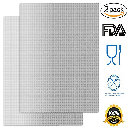 Silver Grill Mat Set of 2 Reusable Non-Stick BBQ Grill Mats 14.5 x 11.4-Inch Silver - Works on Electric Grill Gas Charcoal BBQ - Extended Warranty, - Gas Grill Set