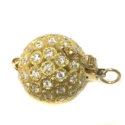 Gold Diamond Ball Clasp 14mm - For pearl necklace, beads and bracelets (14mm 18k -