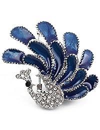 Joyfulshine Womens Silver Plated Peacock Cubic Zirconia Brooch Pin