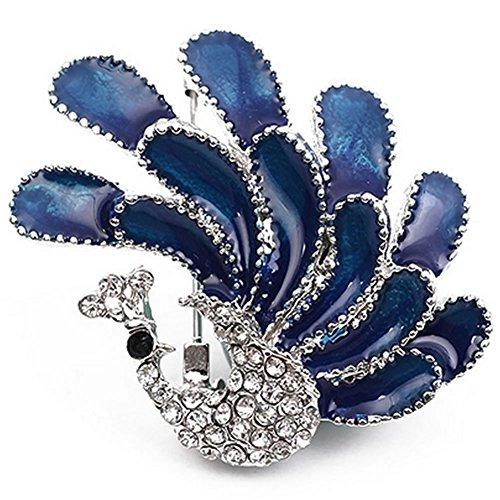 peacock brooch_sterling silver brooch_blue oil drip brooch_crystal brooch_chrismas gifts