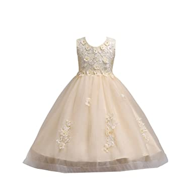 bb34a55c52297 Kids Flower Girls Lace Tulle Dress Embroidery Beaded Princess Pageant High  Low Trailing Dresses with Bowknot