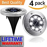 Solar Ground Lights,Outdoor Garden Pathway Waterproof In-Ground Driveway Lawn Walkway Flood Lights 8 LEDs Disk Lights,A Bright Road in Your Garden, White(8 LEDs,4-PACK)