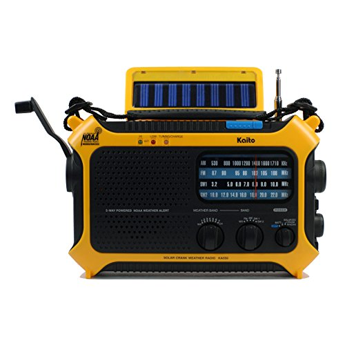 Kaito KA550 5-Way Powered AM/FM Shortwave NOAA Weather Emergency Radio with PEAS (Public Emergency Alert System) (Yellow) (Kaito Radio Antenna)