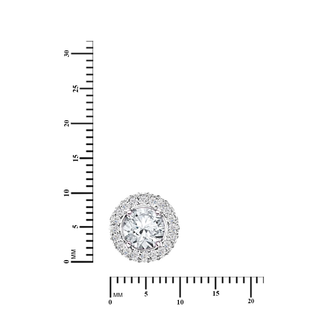 Diamond Scotch Jewelry Stud Earrings for Girls Cubic Zirconia Halo Stud Earrings for Women 14k White Gold Plated