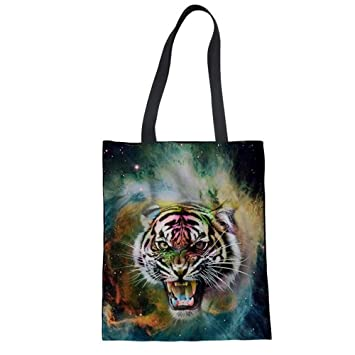 Zxxfr Frauen Handtasche Sternenhimmel Animal Print Canvas