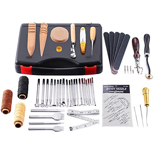 Caydo 59 pieces leather craft hand tools kit for hand for Leather sheets for crafting